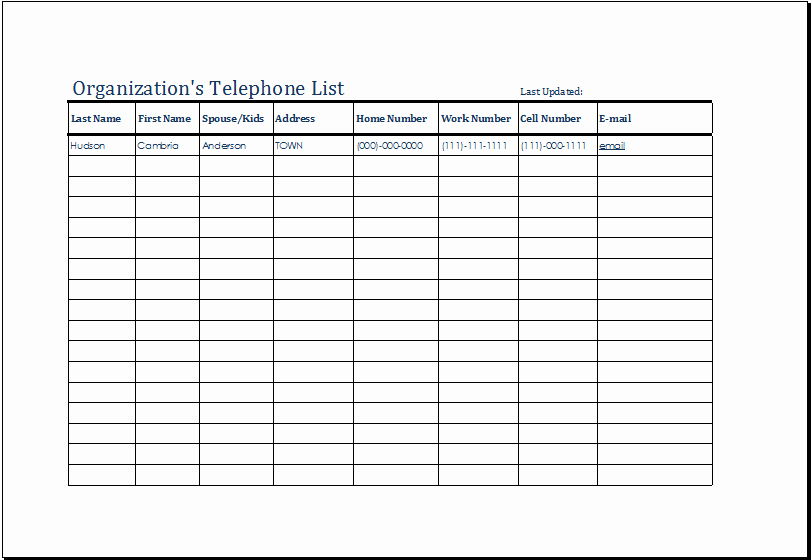 Phone Book Template Excel Lovely organization S Telephone List Template