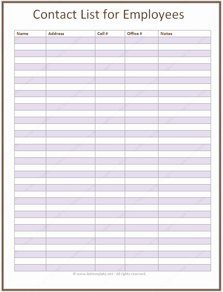Phone Book Template Excel New Employee Contact List Template In A Basic format