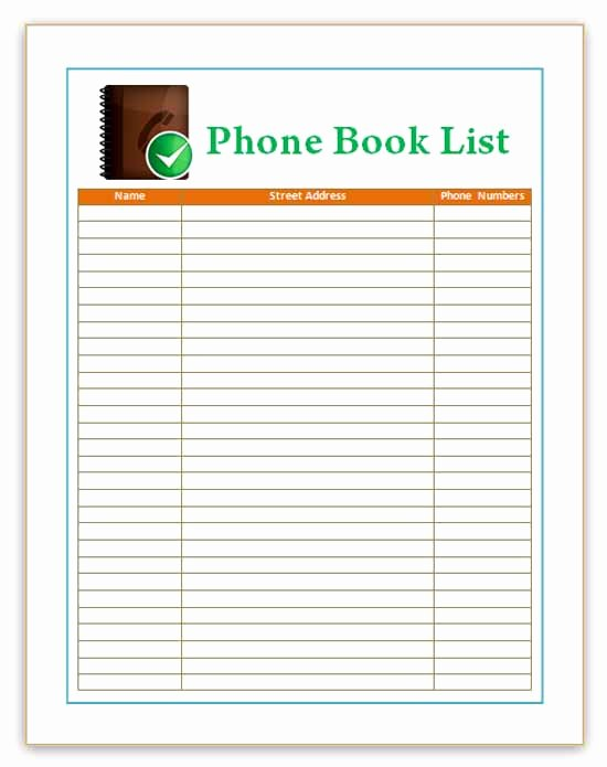 Phone Book Template Excel New Microsoft Word Address Book Templates Frompo