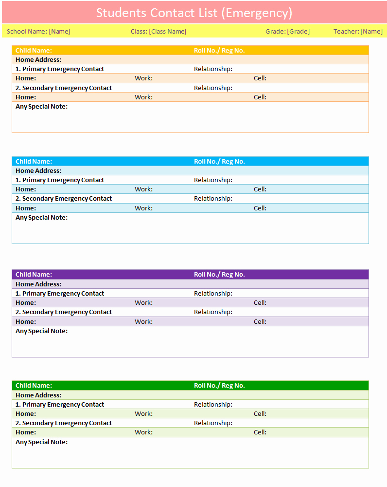 Phone List Template Word Best Of Students Contact List Template Emergency Dotxes
