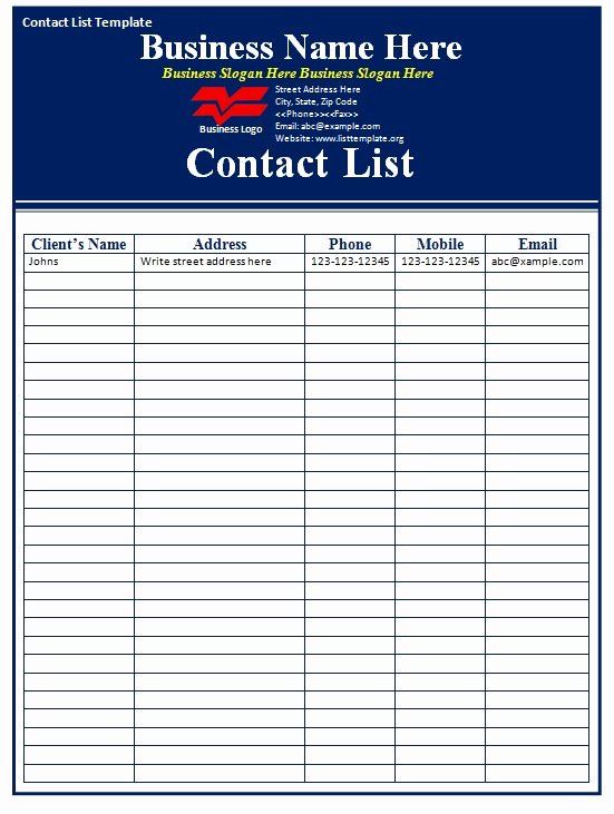 Phone List Template Word Inspirational Contact List Template Free formats Excel Word