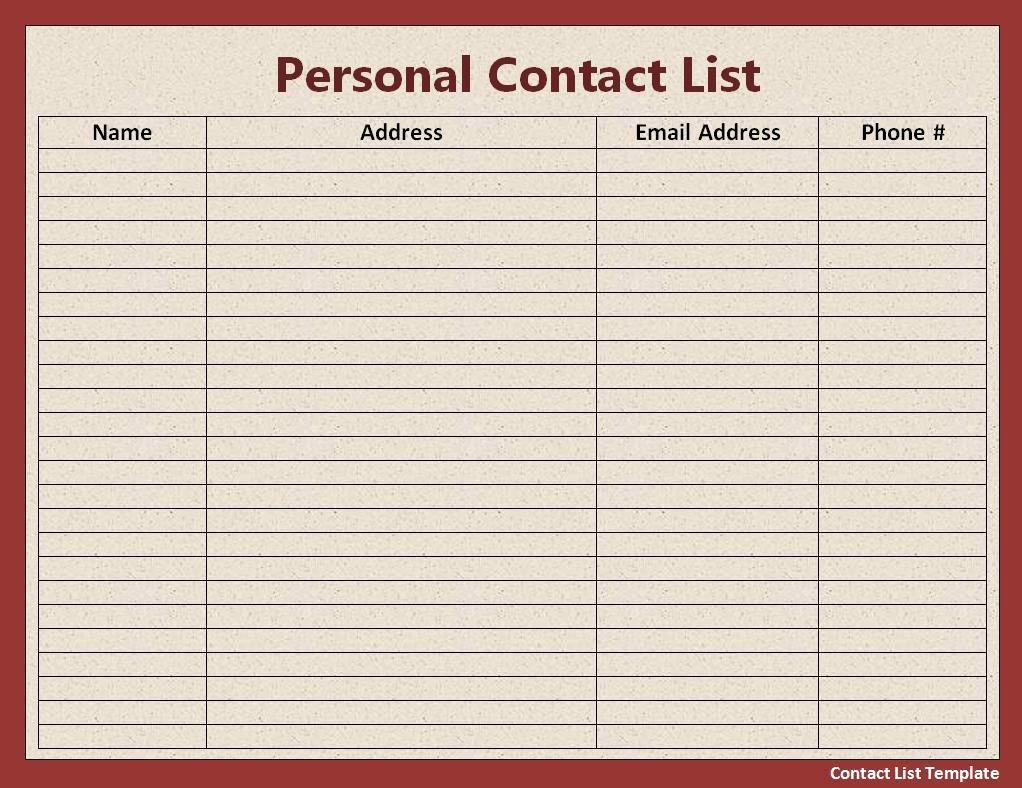 Phone List Template Word Luxury Contact List Template