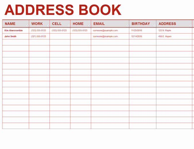 Photo Directory Template Word New Personal Address Book