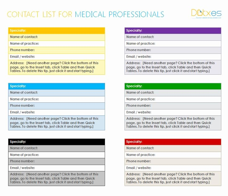 Photo Directory Template Word Unique Medical Professionals Contact List Template In Ms Word