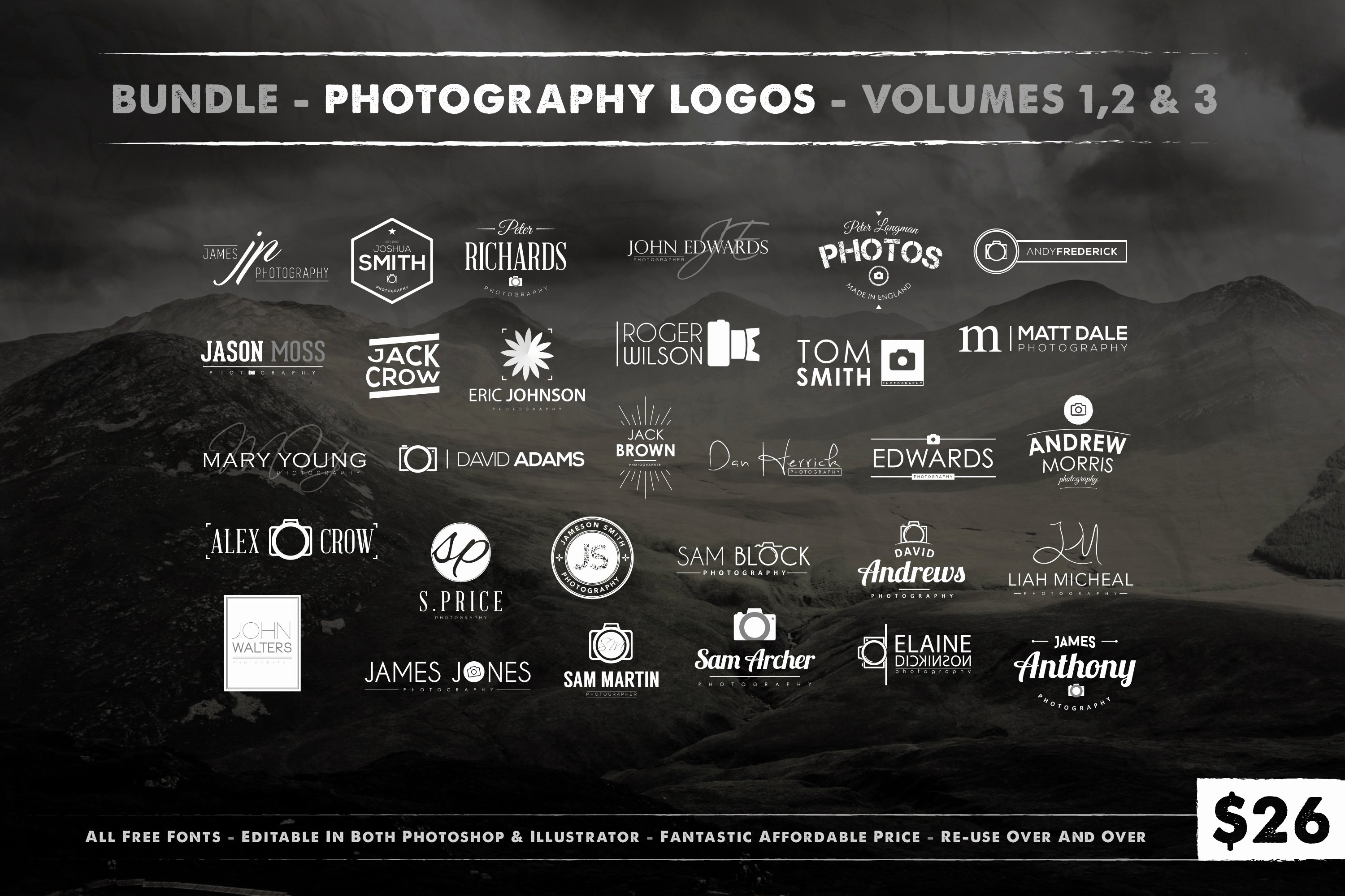 Photography Logo Design Templates Awesome Graphy Logo Bundle Logo Templates Creative Market