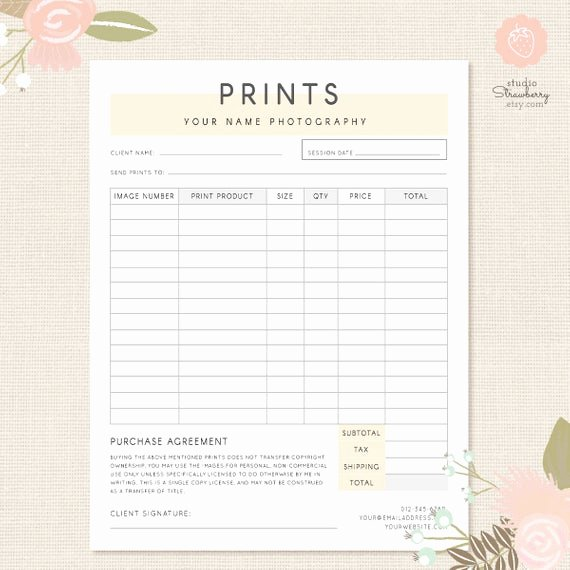Photography order form Template Free Beautiful order form Template Graphy order form Graphy