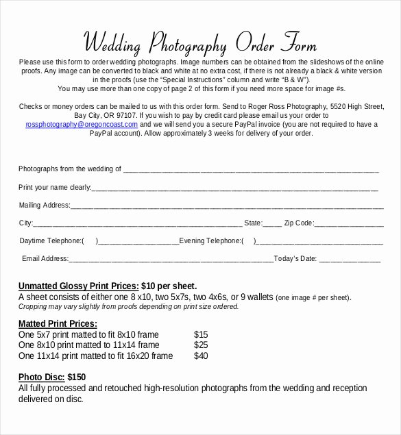 Photography order form Template Free Lovely 17 Wedding order Templates – Free Sample Example format