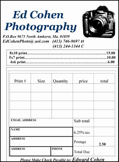 Photography order form Template Free New Providing Photography Services Including Weddings