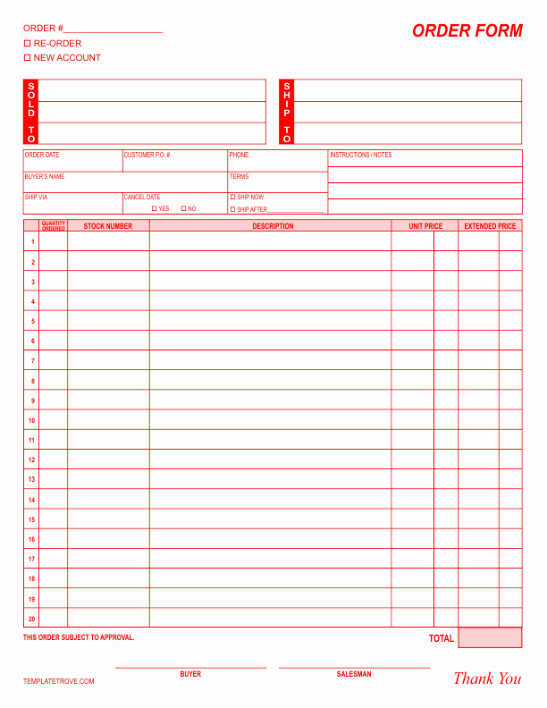 Photography order form Template Free Unique order form Template