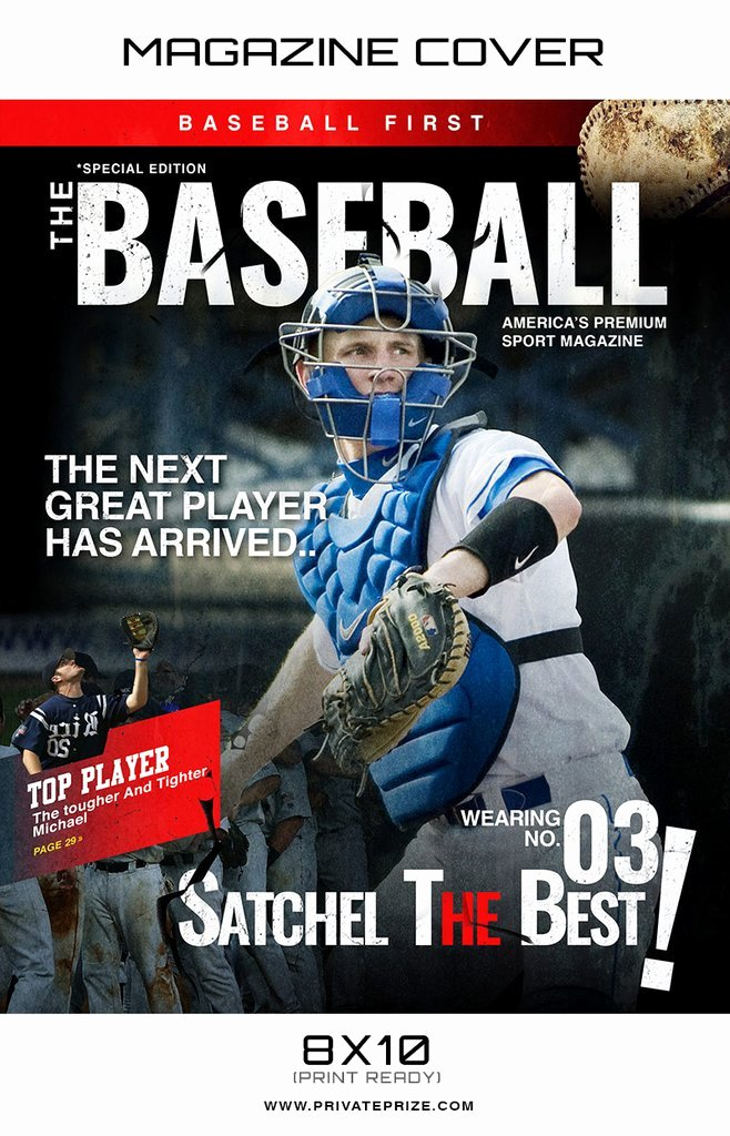 Photoshop Magazine Cover Template Luxury Baseball Sports Graphy Magazine Cover