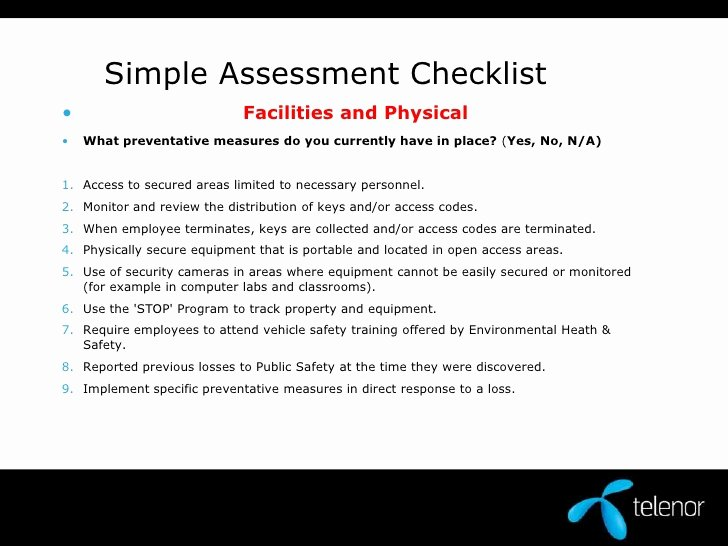 Physical Security Checklist Template Awesome Physical Security assessment