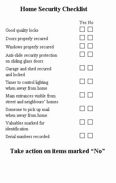Physical Security Inspection Checklist Elegant Home Safety