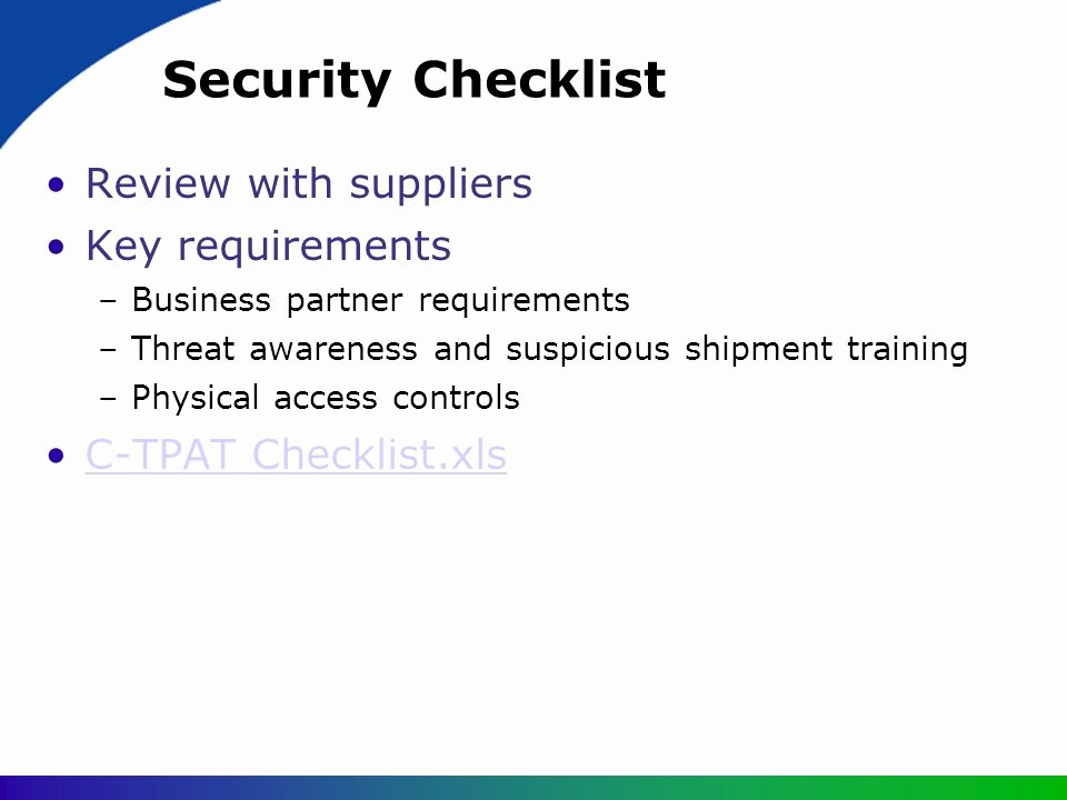 Physical Security Inspection Checklist Fresh Customs Trade Partnership Against Terrorism Ppt Video