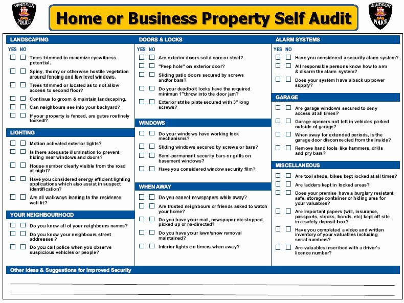 Physical Security Inspection Checklist Lovely Home & Business Security Self Audit Checklist