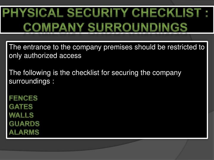Physical Security Inspection Checklist Lovely Ppt Physical Security Powerpoint Presentation Id