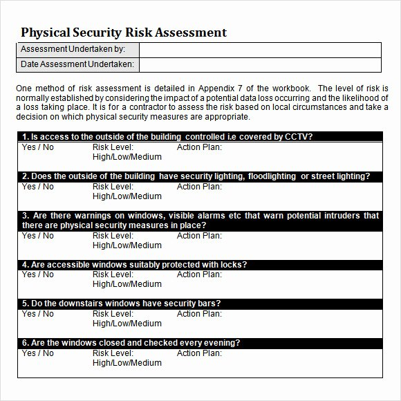 Physical Security Inspection Checklist Unique 10 Sample Security Risk assessment Templates – Pdf Word