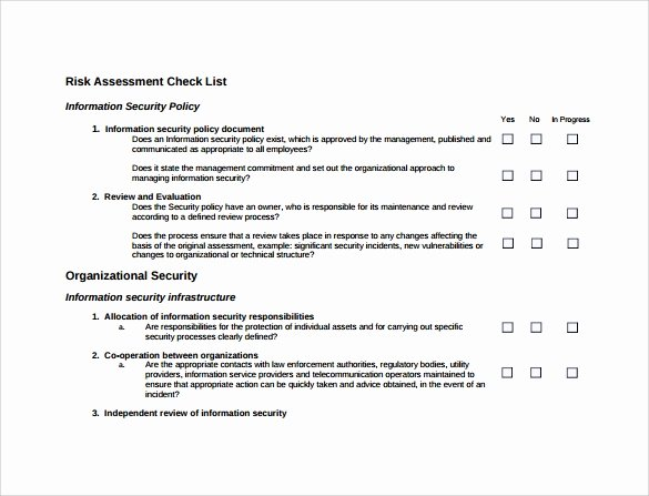 Physical Security Survey Checklist Awesome 10 Sample Security Risk assessment Templates Pdf Word