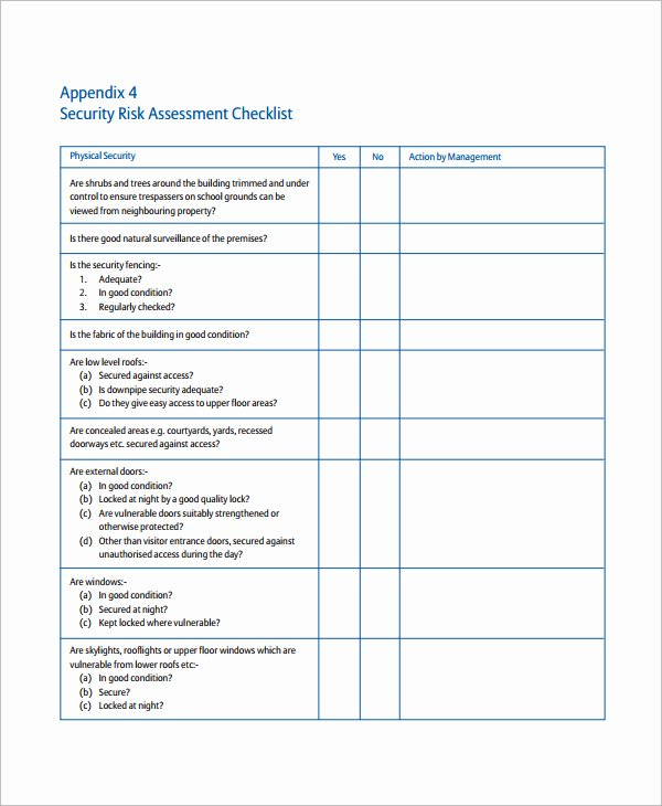 Physical Security Survey Checklist Unique 28 Of Threat assessment Checklist Template
