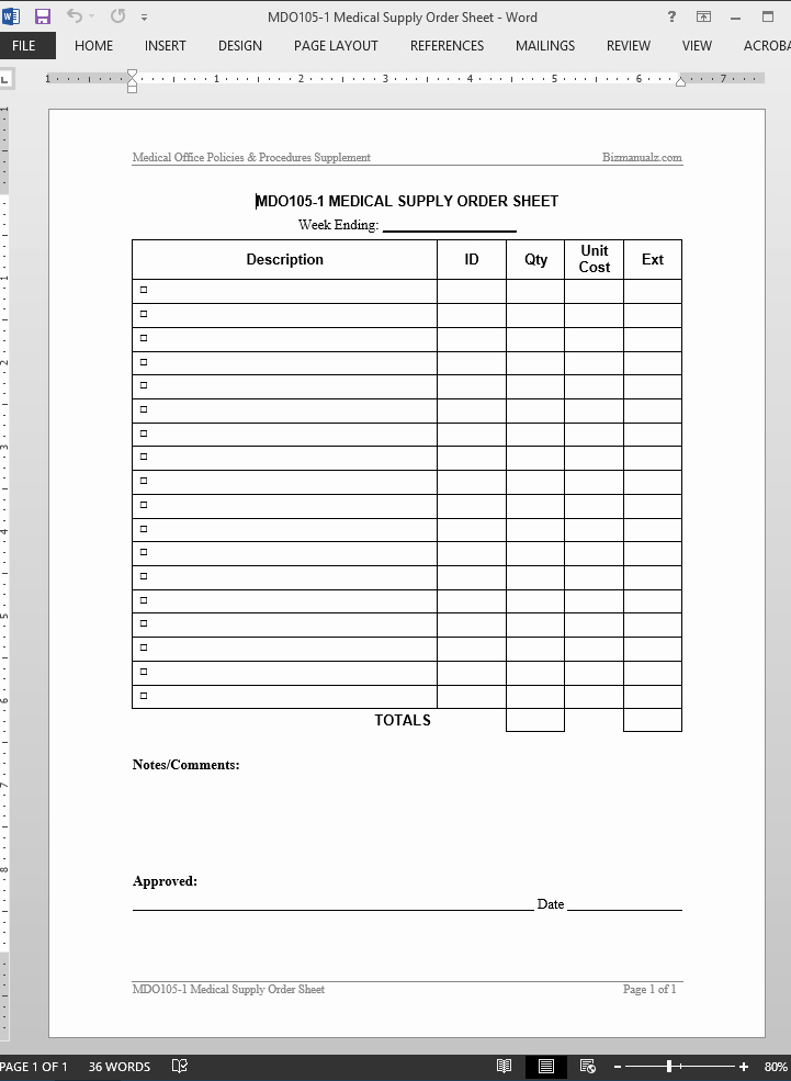 Physician order forms Templates Best Of Medical Supply order Worksheet Template
