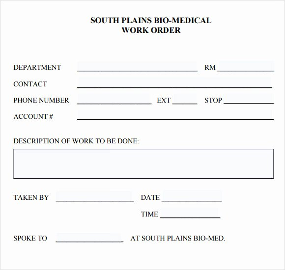 Physician order forms Templates Inspirational 14 Work order Samples Pdf Word Excel Apple Pages