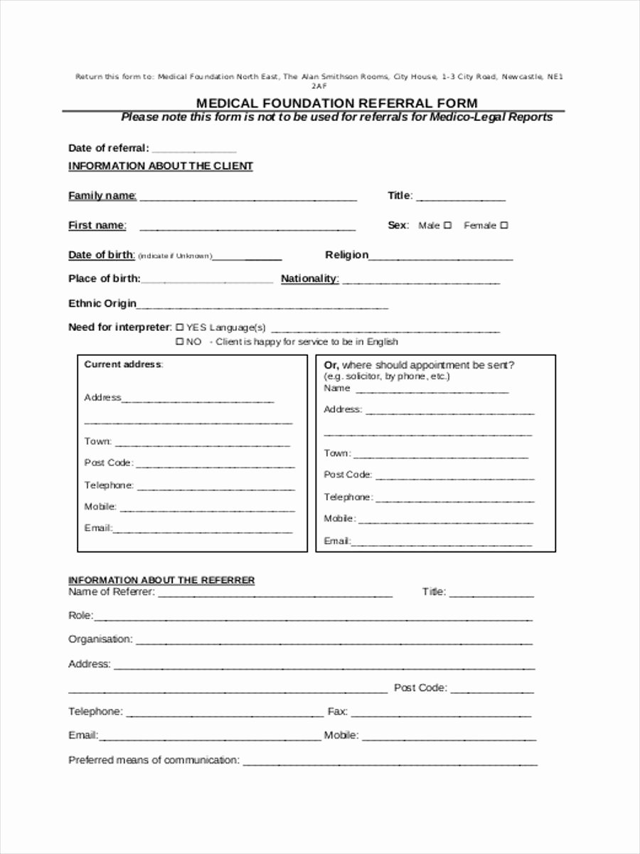 Physician Referral form Template Awesome Medical Referral form 8 Free Documents In Word Pdf