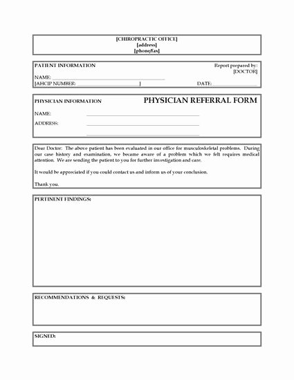 Physician Referral form Template Awesome Referral form From Chiropractor to Physician