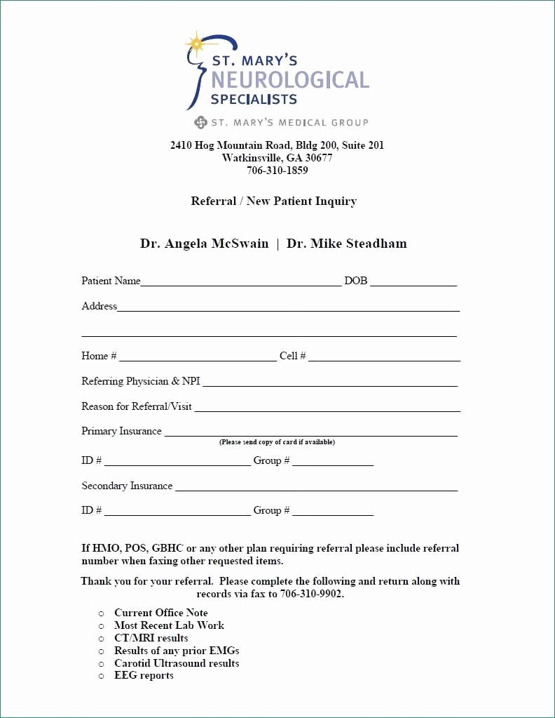 Physician Referral form Template Beautiful Medical Referral form Template