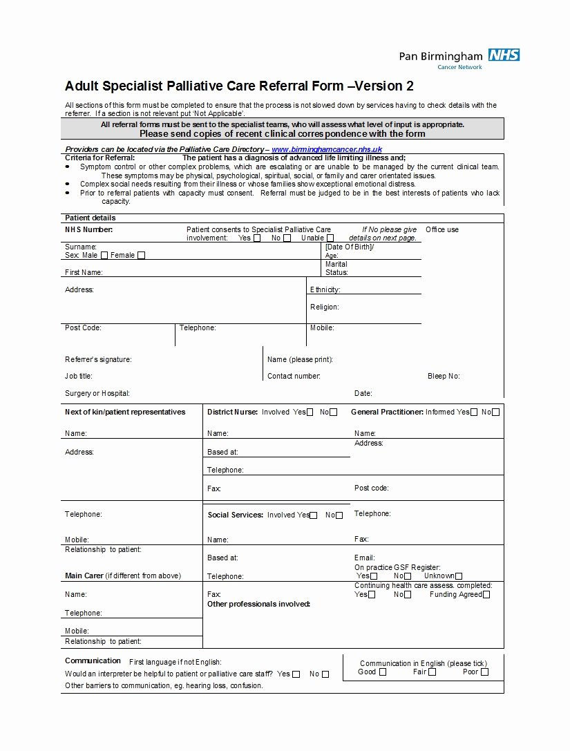 Physician Referral form Template Fresh 50 Referral form Templates [medical & General] Template Lab