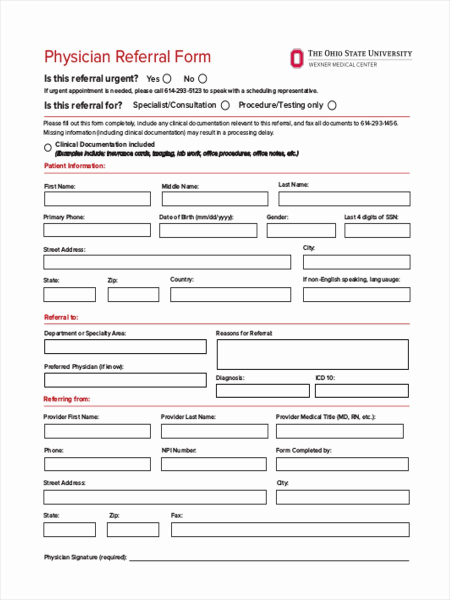 Physician Referral form Template Fresh Medical Referral form 8 Free Documents In Word Pdf