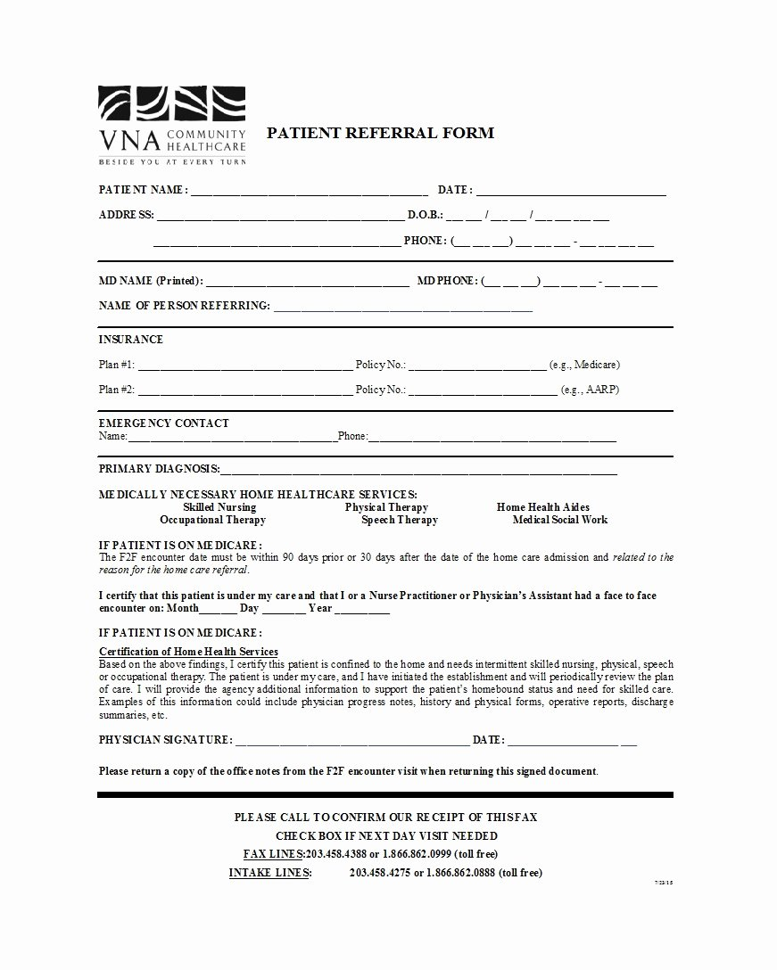 Physician Referral form Template Inspirational 50 Referral form Templates [medical & General] Template Lab