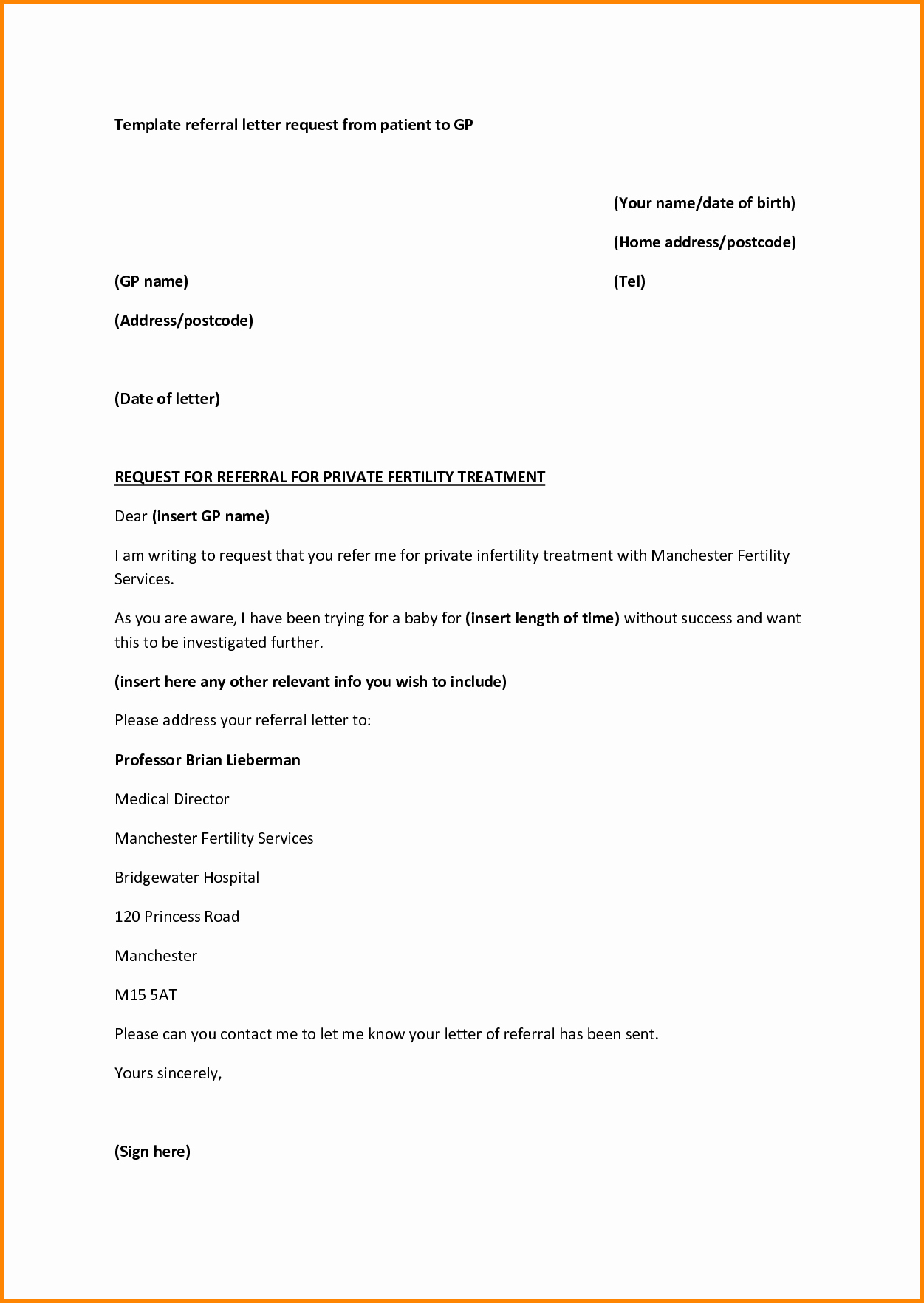 Physician Referral form Template Lovely Medical Referral Letter Template Microsoft Word