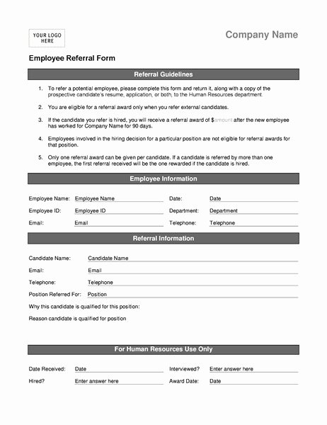 Physician Referral form Template Luxury Employee Referral Program form Template Templates
