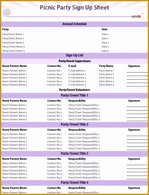 Picnic Sign Up Sheet Template Beautiful 5 Party Schedule Sample