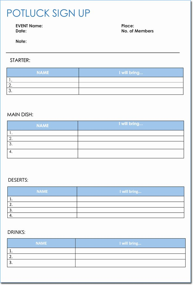 Picnic Sign Up Sheet Template Inspirational Signup Sheet Templates 40 Sheets