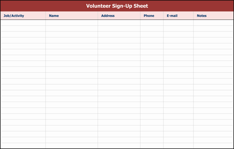 Picnic Sign Up Sheet Template Unique 9 Sign Up Sheet Templates to Make Your Own Sign Up Sheets