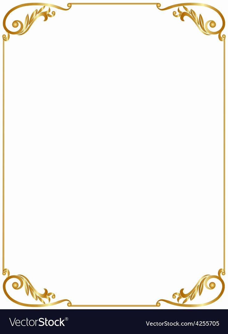 Picture Frame Vector Elegant Gold Frame Royalty Free Vector Image Vectorstock