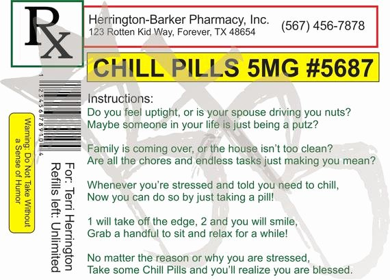 Pill Bottle Label Template Fresh Free Printable Chill Pills Label