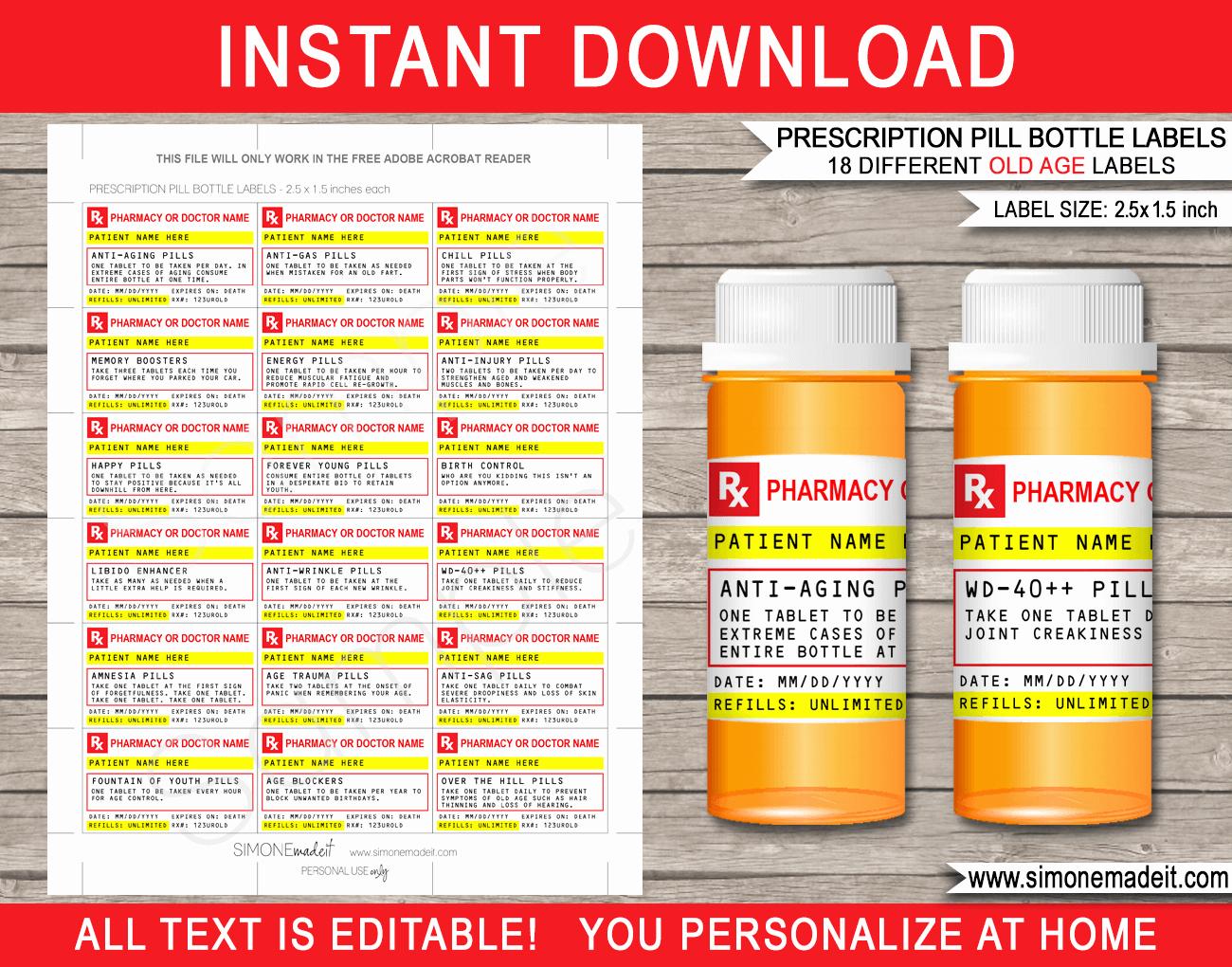 Pill Bottle Label Template Fresh Old Age Prescription Pill Bottle Labels Gag Gift