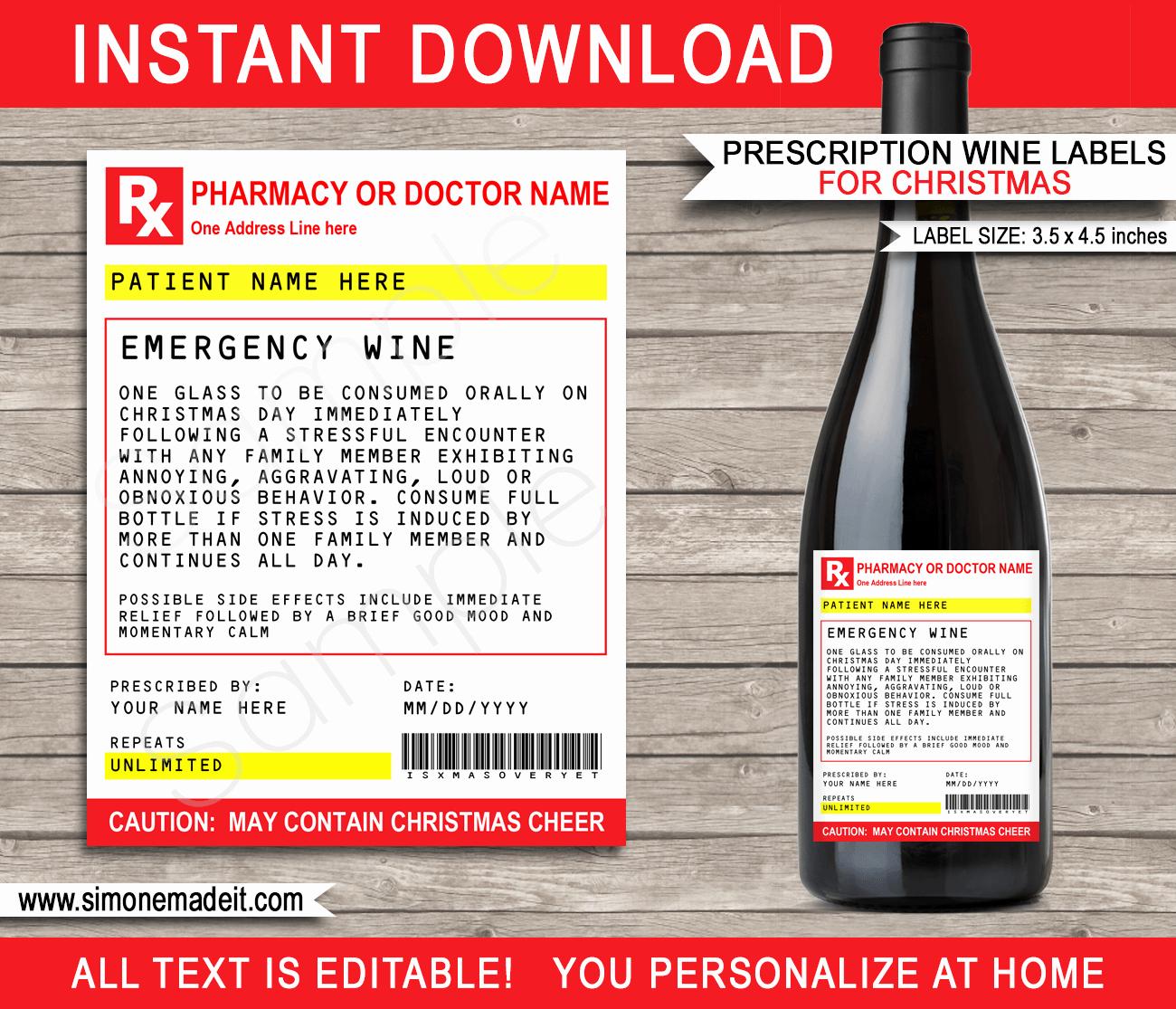 Pill Bottle Label Template Lovely Christmas Prescription Wine Bottle Labels Template Secret