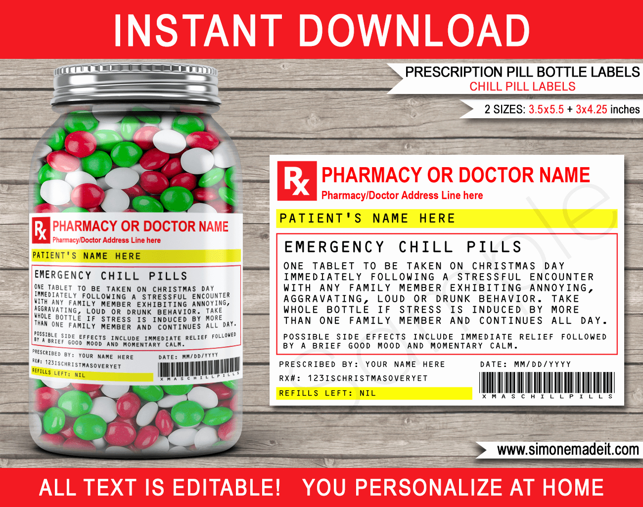 Pill Bottle Label Template Luxury Christmas Chill Pills Label Template Prescription