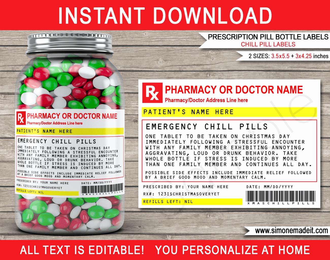 Pill Bottle Label Template Luxury Christmas Chill Pills Label Template Prescription