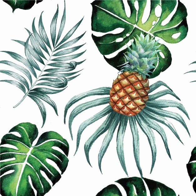 Pineapple Leaf Template Beautiful Watercolor Leaves Pattern Design Vector