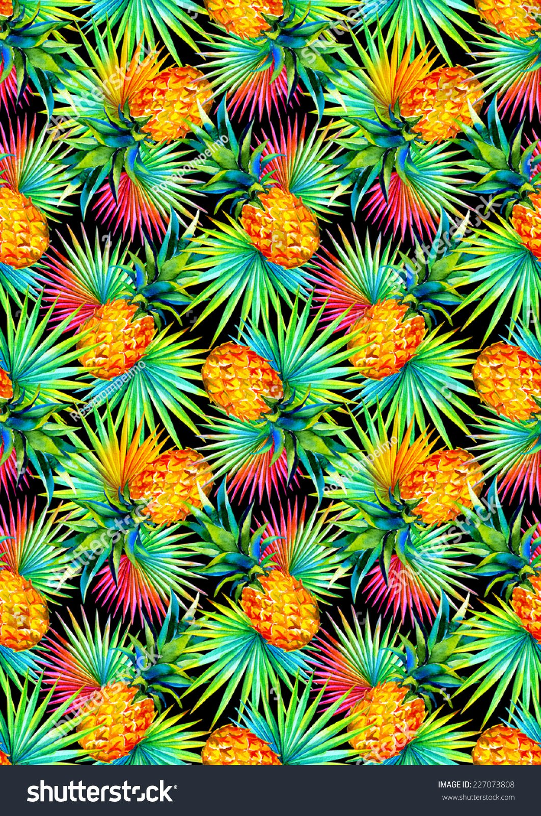 Pineapple Leaf Template Best Of Seamless Pineapple Palm Leaves Pattern Dark Stock
