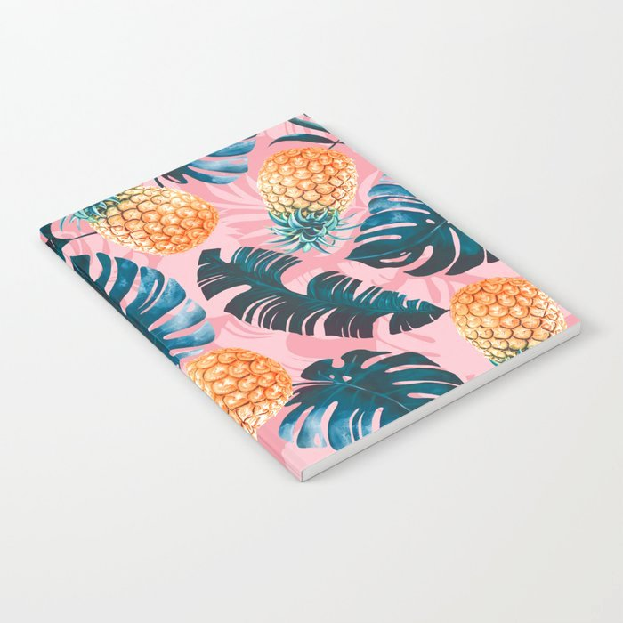Pineapple Leaf Template Lovely Pineapple and Leaf Pattern Notebook by Burcukorkmazyurek