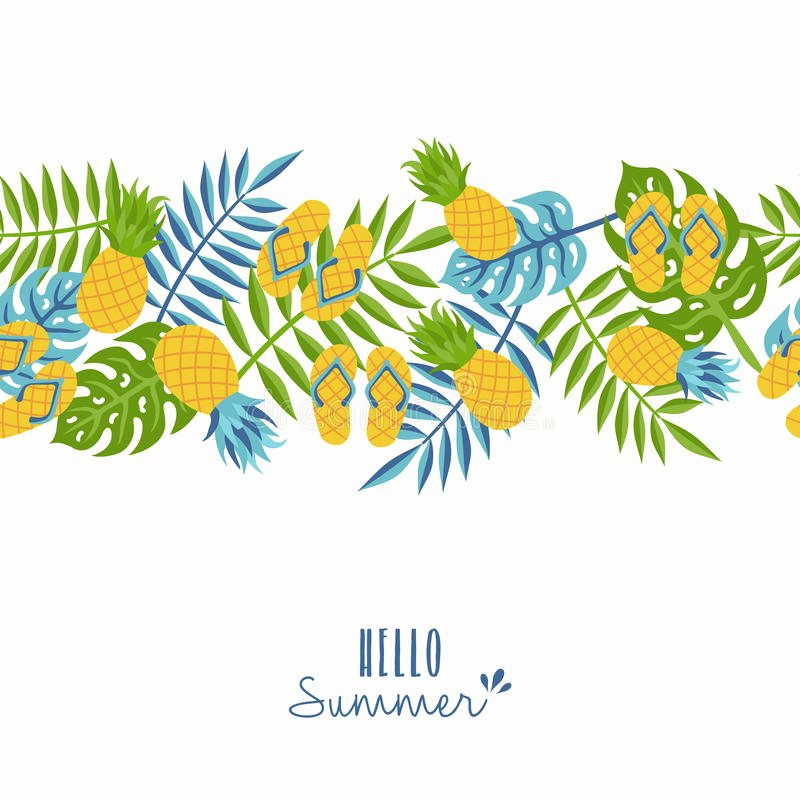 Pineapple Leaf Template Luxury Hello Summer Tropical Pineapple Pattern Design Stock