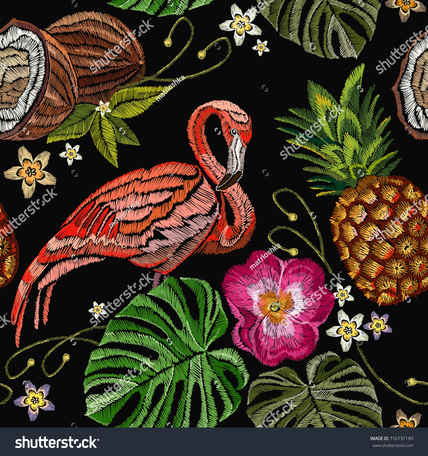 Pineapple Leaves Template Beautiful Embroidery Flamingo Palm Tree Leaves Pineapple Stock