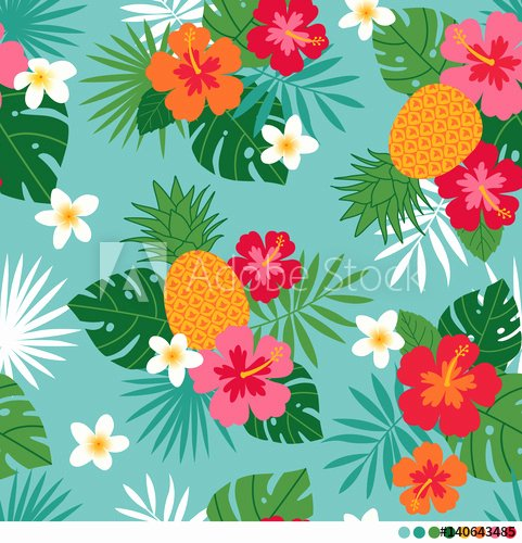 Pineapple Leaves Template Best Of Pineapple Hibiscus Frangipani and Leaf Seamless Pattern
