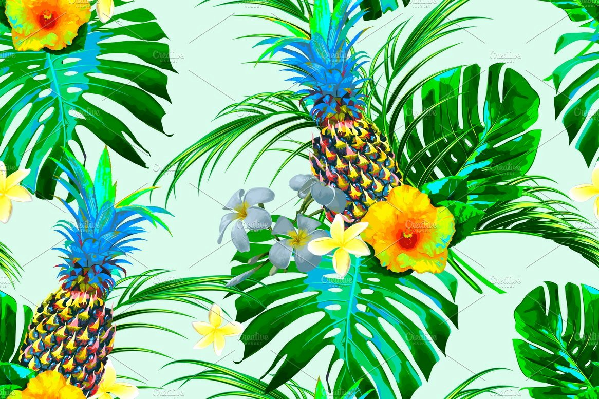 Pineapple Leaves Template Elegant Pineapples Tropical Leaves Pattern Graphic Patterns