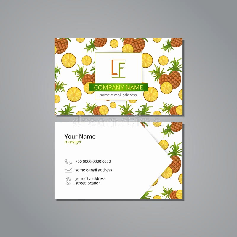 Pineapple Leaves Template New Vector Visit Card Template with Pattern Pineapple and