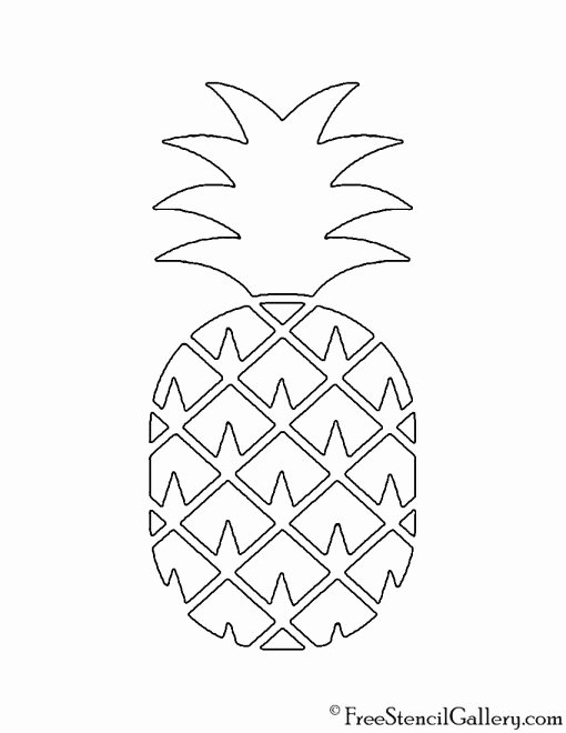 Pineapple Template Printable New Pineapple 02 Stencil